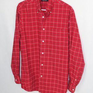 #0189     Nautica red/ black/white striped shirt